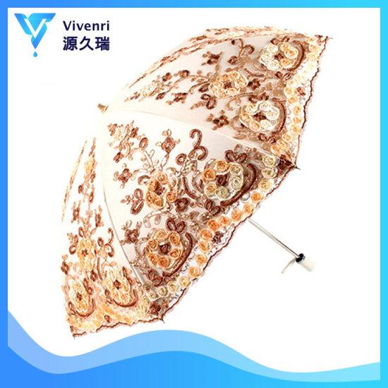 3D Flowers Embroidery Bridal Shower Umbrellas Vintage Lace Parasol, Fashion Sun Umbrella