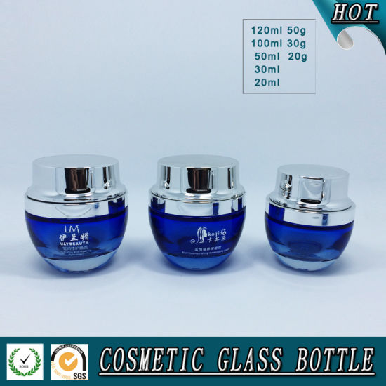 blue Colored Cosmetic Glass Bottles and Cosmetic Glass Jars pictures & photos