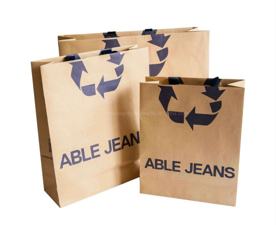 China Custom Recycled Christmas Brown Paper Gift Bags Craft Gift