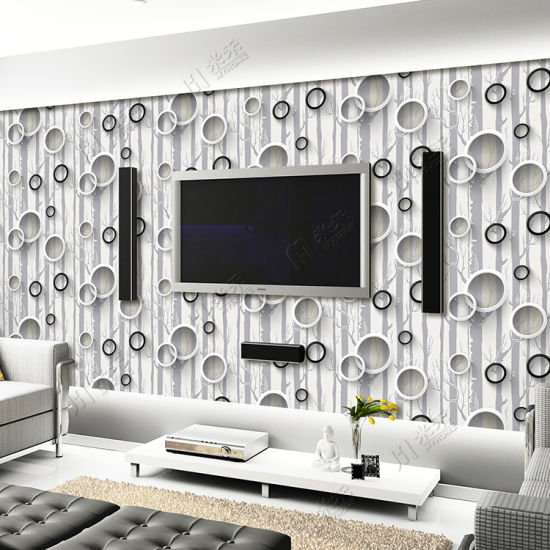 China Beautiful 3D Design Wallpaper TV Background Living Room Home ...