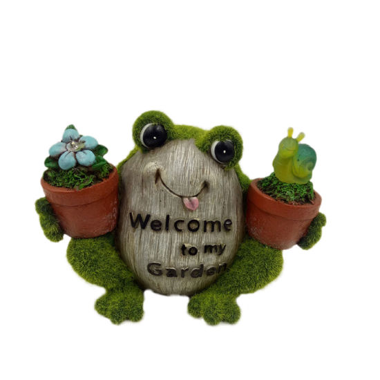 New Arrive Wholesale Garden Decor Resin Frog Statue Holding Flowers with Solar Light