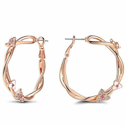 Rose Gold Color IVY Flower Twining Rattan Clip on Hoop Circle Earrings