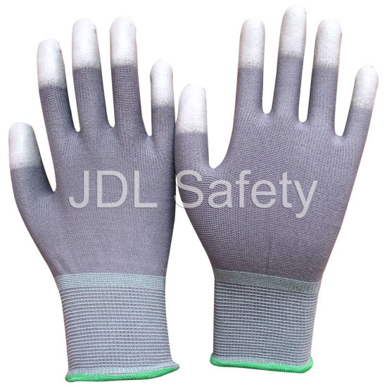 Assembling Packing Small 13 Gauge Gray Nylon Glove with PU Coated on Fingertips (PN8012)