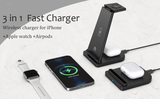 10W Fast Wireless Charger Qi-Certified 3 in 1 Wireless Charging Stand Upgraded Multi-Functional Power Station