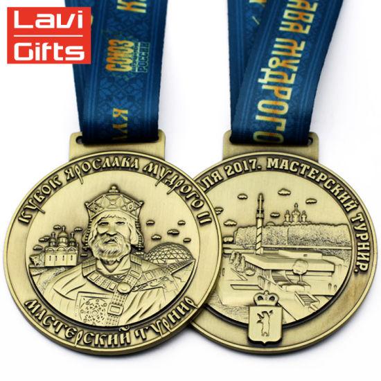 Promotion Custom Make Silver Blank Metal Awards Medal with Lanyard Ribbon