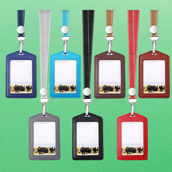 Vertical Real-Leather ID Card Badge Holder