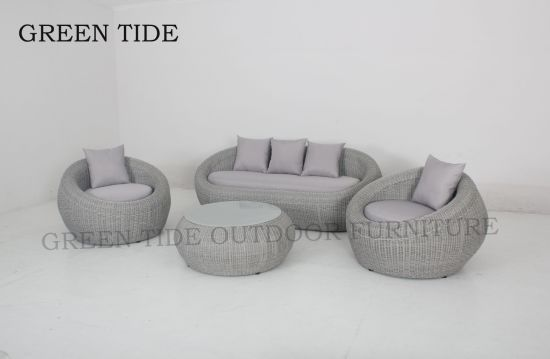 Outdoor Garden Home Furniture Round Wicker Rattan Corner Sofa Set pictures & photos