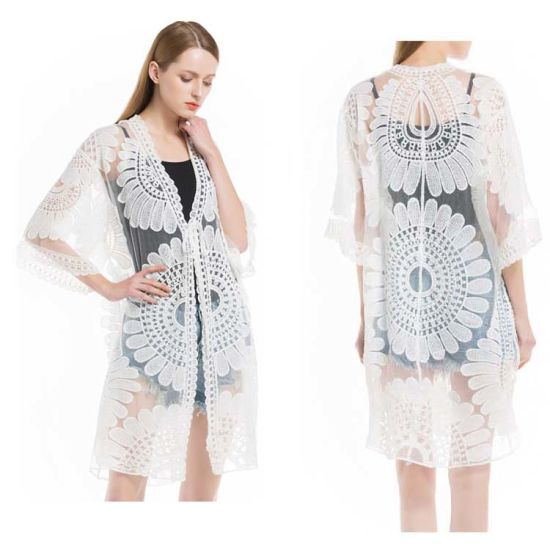 93801ec3bb New Summer Swimsuit Lace Hollow Crochet Beach Bikini Cover up 3/4 Sleeve  Women Tops Swimwear Beach Dress White Beach Tunic Shirt