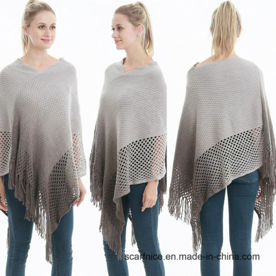 df1f556cd6b3 2018 New Fashion Autumn Winter Warm Gradient Poncho for Women Loose Cape  Oversize Knitted Long Shawls Soft Luxury Brand Cloak