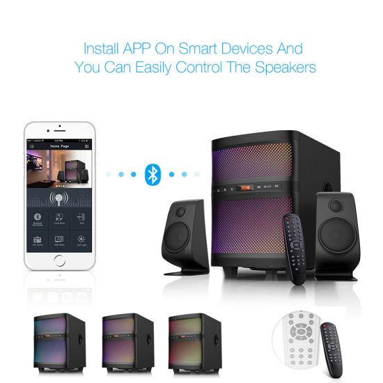 2 1 Channel Subwoofer Home Audio TV Speaker with USB FM Bluetooth Color LED  Display