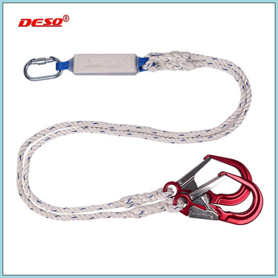 Fall Protection Double Spring Hook Nylon Safety Lanyard