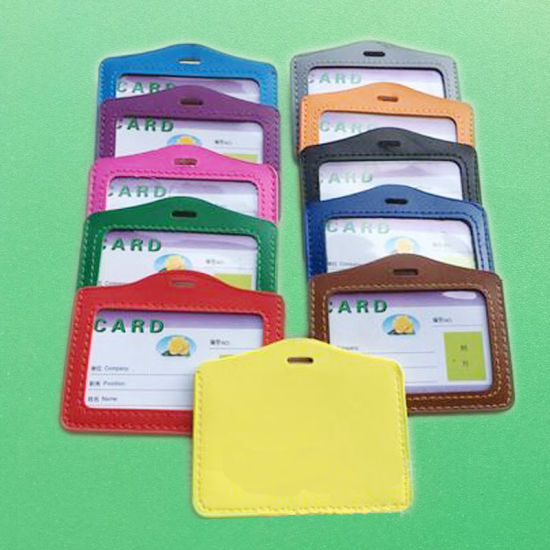 Horizonal PU ID Badge Card Pocket Holder
