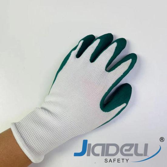 Children Protective Garden Working Safety Kids 13 Gauge Nylon Liner with Green Foam Latex Work Gloves