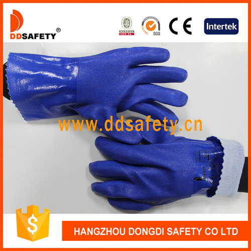 Hot Sale Blue PVC Smooth Finished and Cotton Liner Protection Gloves