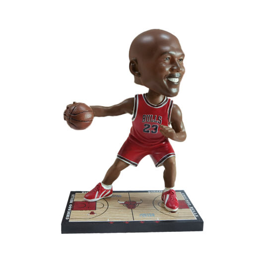 Resin NBA Basketball Super Star Jordan Figure Bobble Head with Wooden Court Base