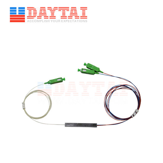 PLC Factory Price 1X2 Fiber Optic Splitter Sc/APC Optical Splitter 1 in 2 out