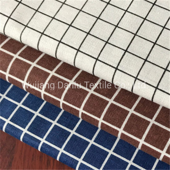 Plaid Printed Style Linen Fabric Table Cloth Fabric