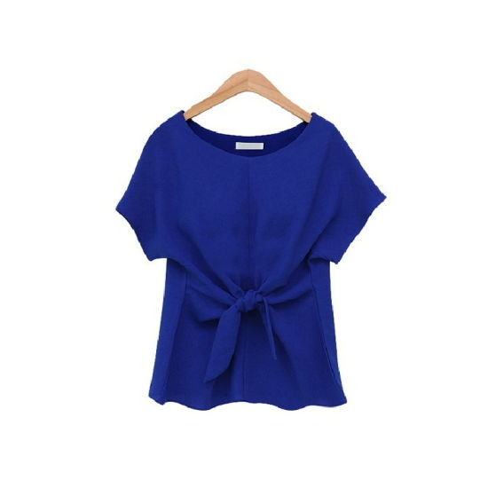 China Short Sleeved Bow Tie Chiffon Blouse Neck Designs Latest
