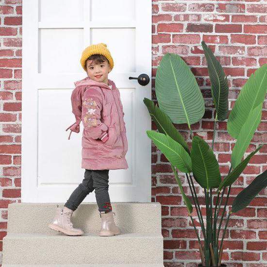 Quilted Long Flower Embroidery Velvet Hooded Down Jacket for Kids Children Girls Boys