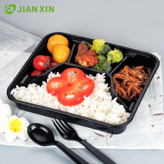 4 Compartment Disposable Food Container Lunch Box PP Bento Box pictures & photos