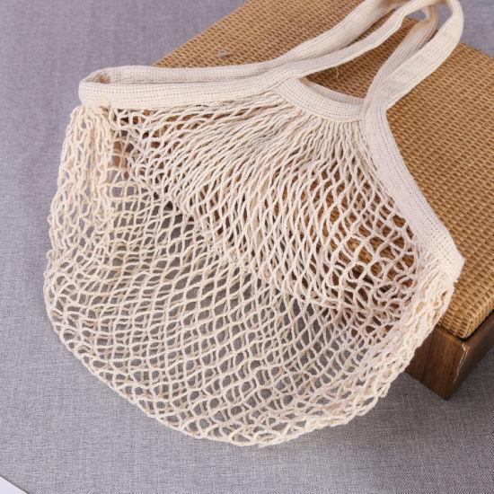 Reusable Produce Cotton Mesh Bag - Natural Cotton Net String Shopping Tote Bag