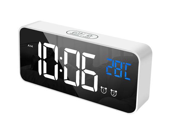 China Digital Led Clock Screen Digital Mirror Alarm Clock Built In 16 Classic Soothing Music Wall Clock China Alarm Clock And Alarm Price