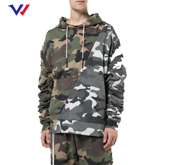 Custom Logo Mens Fitness Training Tracksuit Sport Wear Fashion 100% Cotton Camo Camouflage Sweat Suits Hooded Jogging Suit