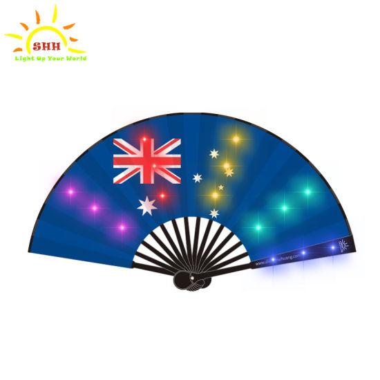 Custom Design Fancy Chinese Silk Craft LED Hand Fan Flashing Folding Fan