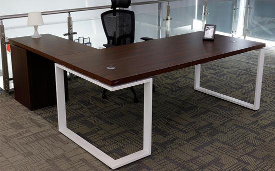 Modern Office Furniture L Shaped MFC Wooden Manager Executive Office Desk (YLDK1059)