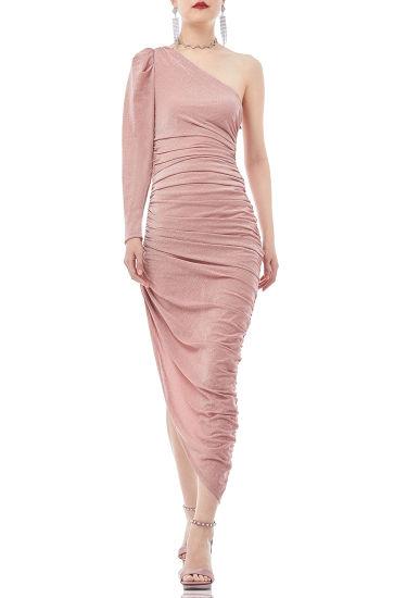 Ban2001-0277 Women Spring Summer Metallic One Shoulder Bodysuit Asymetrical Cocktail Dress