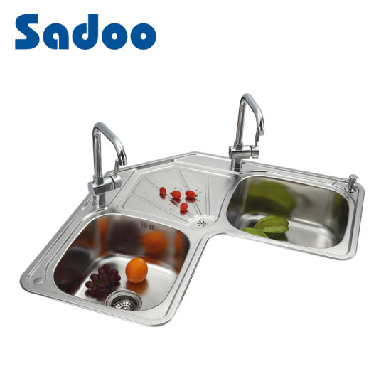 Stainless Steel Kitchen Corner Double Bowl Sink Sd 996 China Kitchen Corner Sink Corner Kitchen Sink Made In China Com