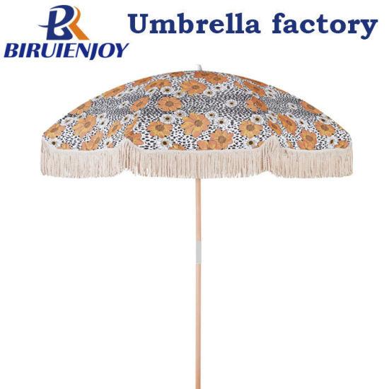 Custom Wooden Beach Umbrella Sun Parasol with Cotton Tassel/Fringe for Seaside/Garden/Outdoor UV50+