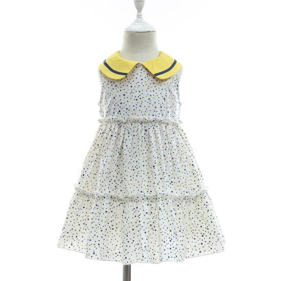 New 2019 Spring/Summer Lovely 100% Cotton Polka Dots Sleevless Dress for Children Girl