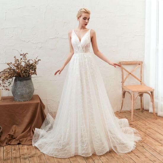 Sexy Blackless Spaghetti Straps V Neck Wedding Dress Celebrity Dress Evening Dress Party Dress