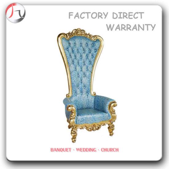 Superbe Blue Velvet America Luxurious Palace Throne Chair (KC 03)
