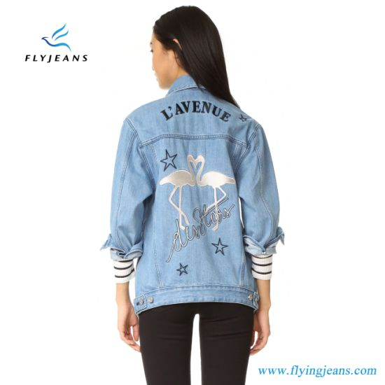 88196ad94c06 China Long Denim Women Jacket with Embroidered Flamingo Graphic ...
