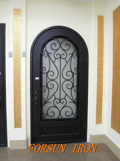 China Wrought Iron Security Door With Glass Window For Villa China