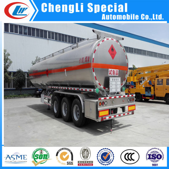 3 Axle 45000liters Aluminum Alloy Oil Transport Semi Fuel Tanker Trailer pictures & photos