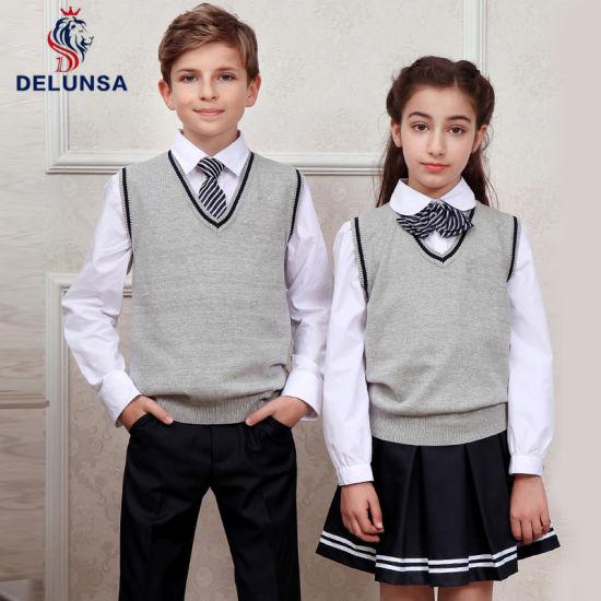 Wholesale Winter Custom School Uniform Kid V Neck Sweater Vest