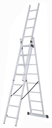 High Quality 3 Section Aluminium Folding Extension Ladder pictures & photos
