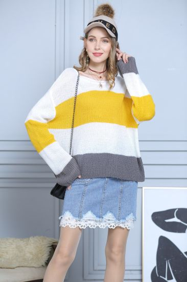 Striped Pullover Apparel Mohair Knitwear Stitching Trumpet Sleeve Sweater