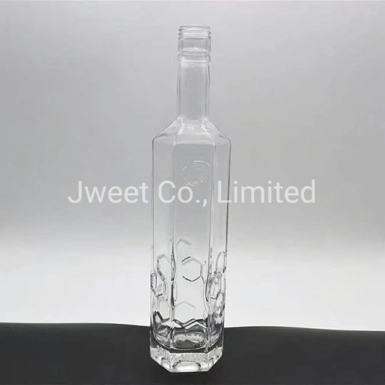 China Transparent Glass 1000ml Brandy Beverage Glass Bottle with Cork