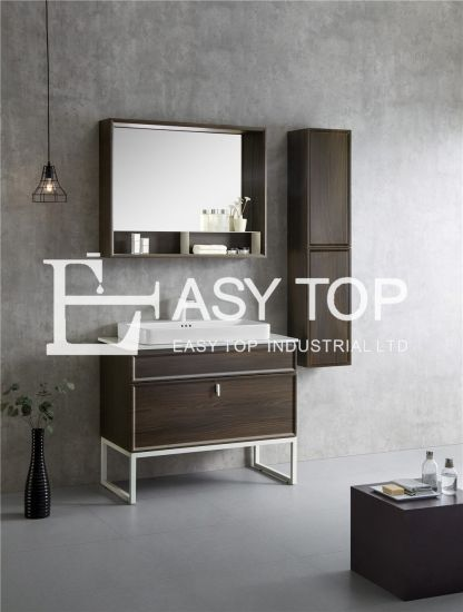 in Stock UK Cabinets Customized Luxury Sweden Walnut Black Floor Mounted One Sink Modern Bathroom Cabinet
