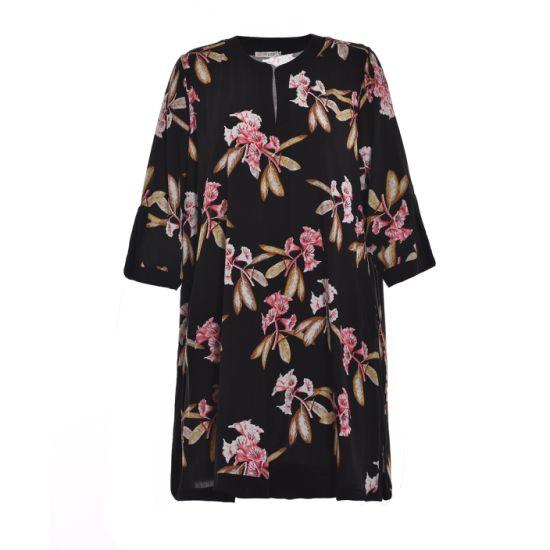 2019 Fashion Design Women Plus Size Flower Printed Casual Round Neck Long Blouse