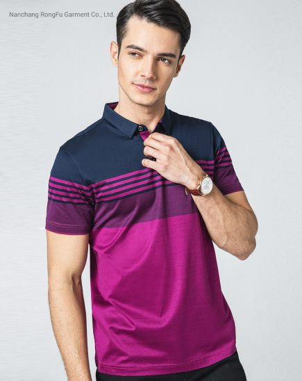 Men's Short Sleeved T Shirt 100% Cotton Leisure Mercerized Cotton Polo Shirt