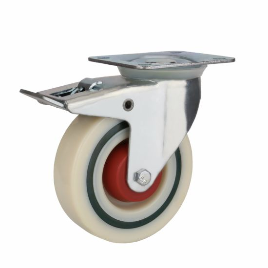 White PP Industrial Caster, with Plastic Cover