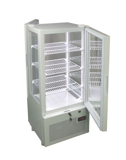 Upright Four Sided Glass Cooler with Carved Logo Yy-83W
