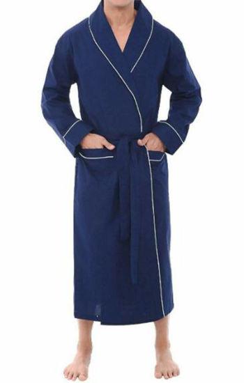 Anti-Bacterial High Quality Luxury Bamboo Bathrobe Nightgown Blue