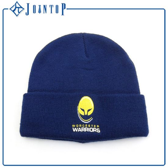 Fold Wholesale Customized Acrylic Winter Knitted Beanie Hat with Logo pictures & photos
