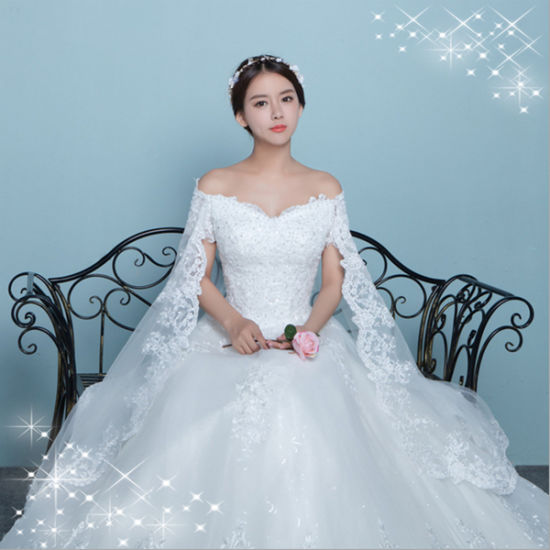 China Elegant Lace Satin Off-Shoulder Wedding Gown With